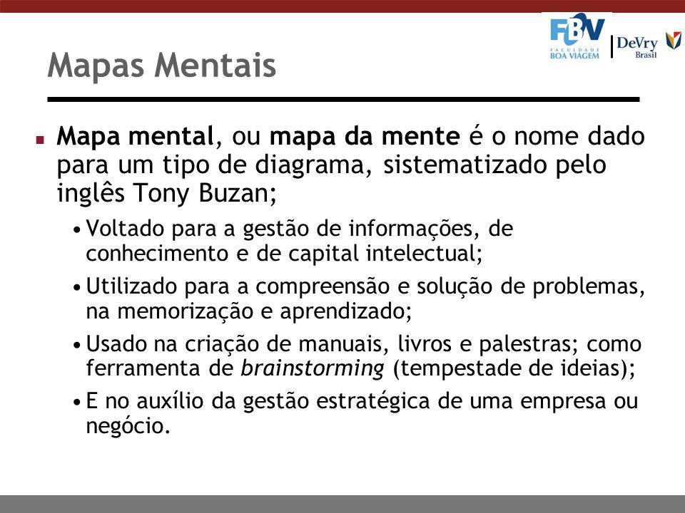Mapas Mentais Mapa mental, ou mapa da mente é o nome dado para um tipo de diagrama, sistematizado pelo inglês Tony Buzan;