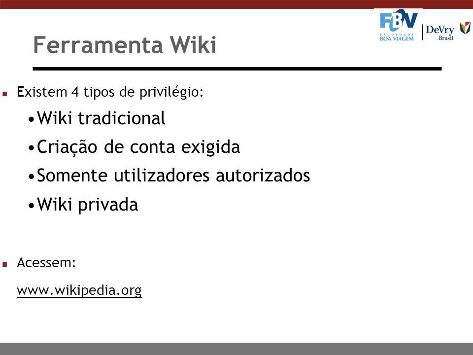 Ferramenta Wiki Wiki tradicional Criação de conta exigida