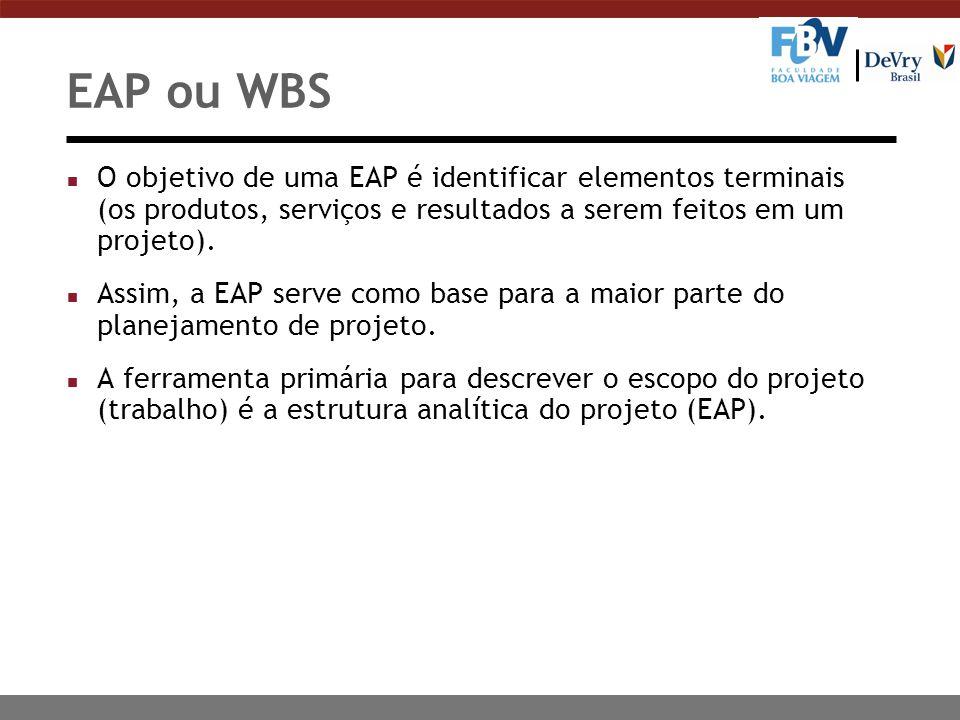 EAP ou WBS O objetivo de uma EAP é identificar elementos terminais (os produtos, serviços e resultados a serem feitos em um projeto).