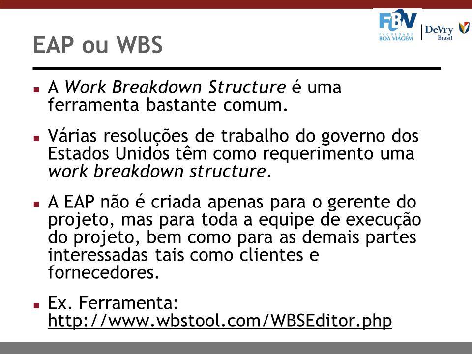 EAP ou WBS A Work Breakdown Structure é uma ferramenta bastante comum.