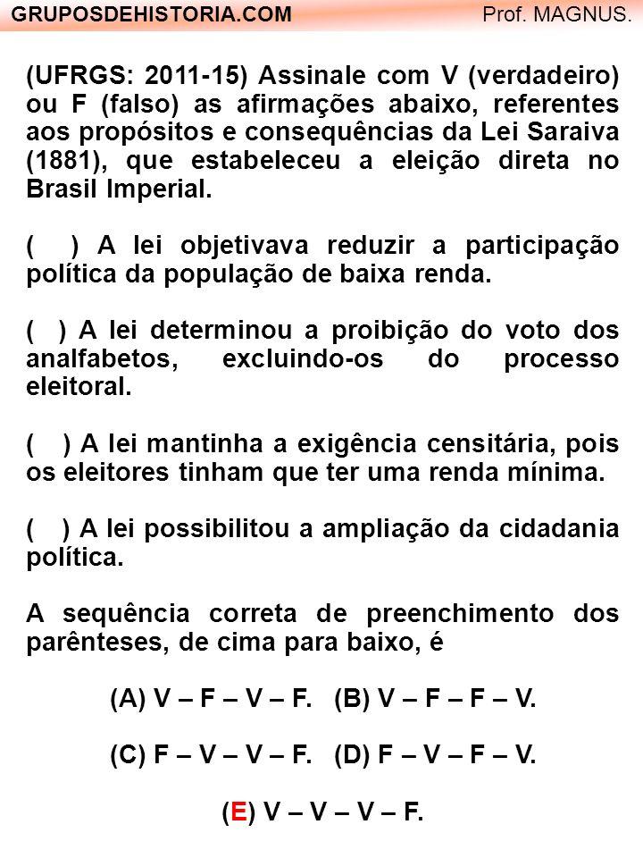 ( ) A lei possibilitou a ampliação da cidadania política.