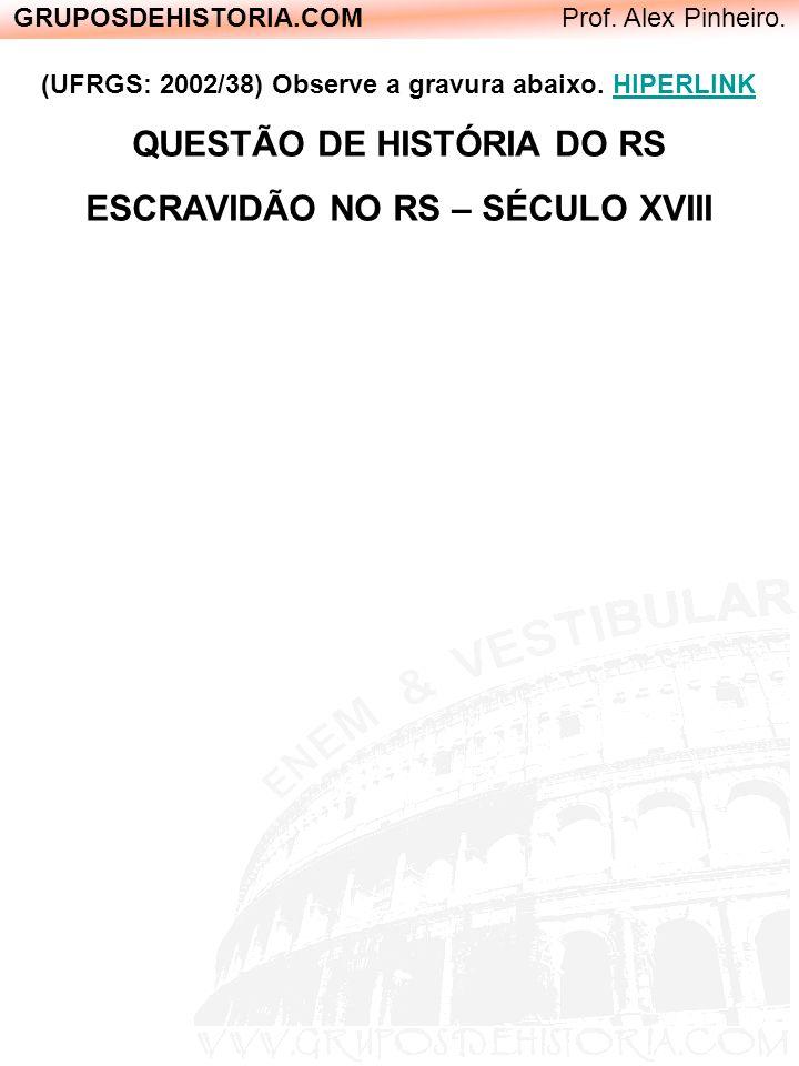 QUESTÃO DE HISTÓRIA DO RS ESCRAVIDÃO NO RS – SÉCULO XVIII