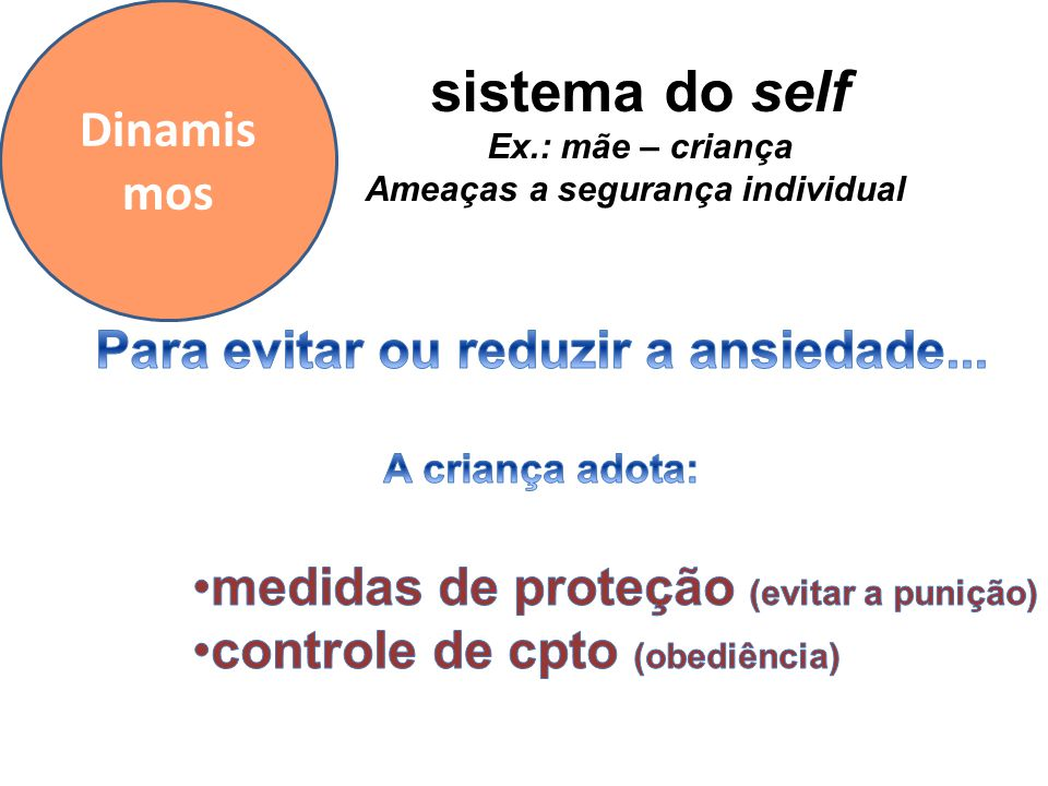 Ameaças a segurança individual Para evitar ou reduzir a ansiedade...