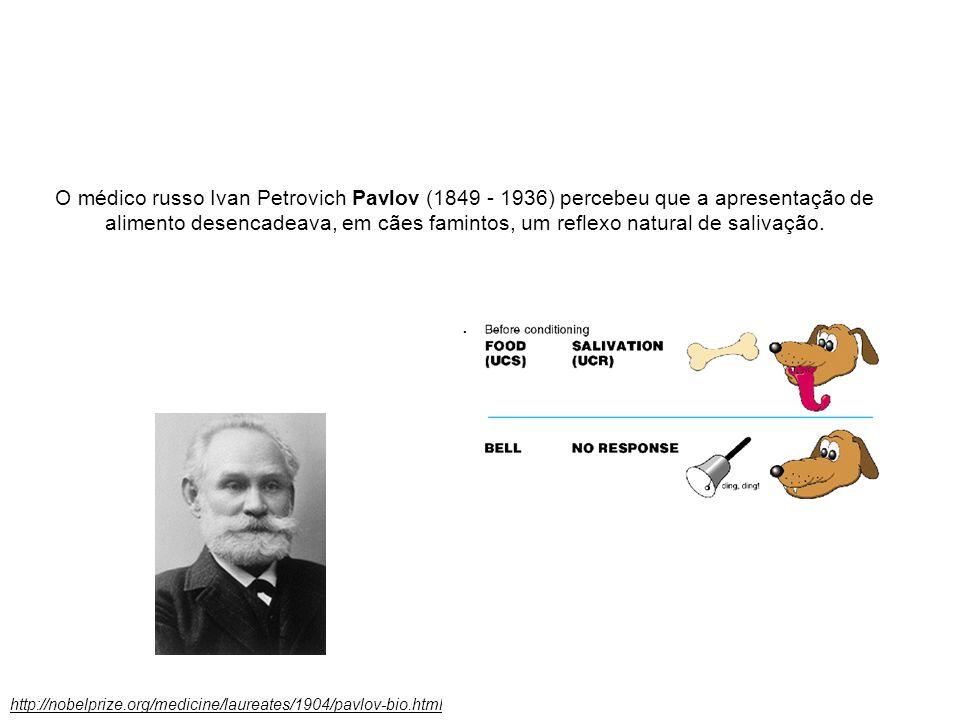 O médico russo Ivan Petrovich Pavlov (1849 - 1936) percebeu que a apresentação de alimento desencadeava, em cães famintos, um reflexo natural de salivação.