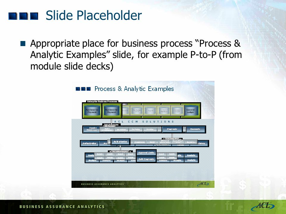 Slide Placeholder Appropriate place for business process Process & Analytic Examples slide, for example P-to-P (from module slide decks)