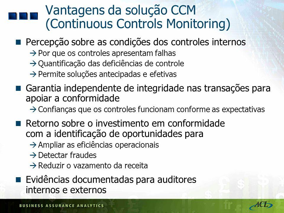 Vantagens da solução CCM (Continuous Controls Monitoring)