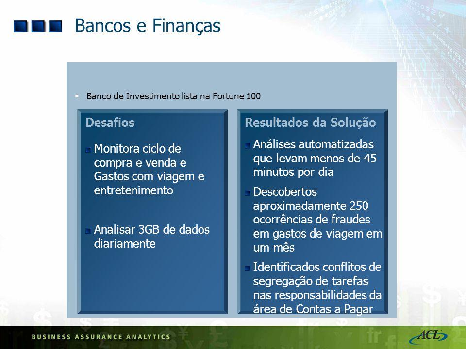 Bancos e Finanças Desafios Resultados da Solução