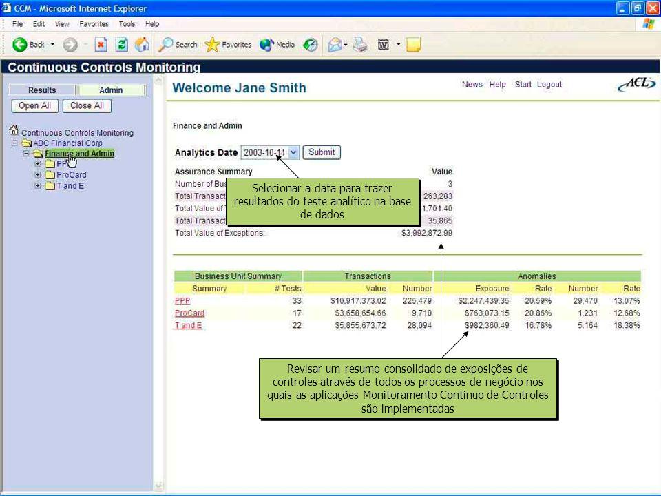Selecionar a data para trazer resultados do teste analítico na base de dados