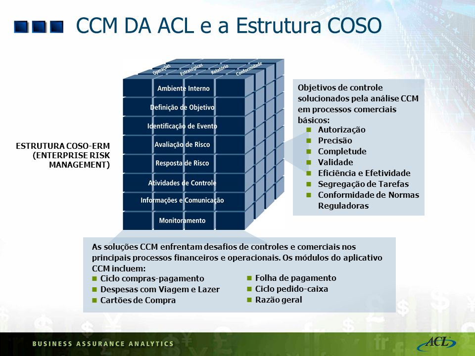 CCM DA ACL e a Estrutura COSO