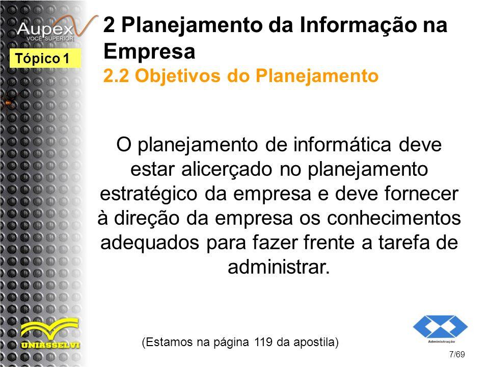 2 Planejamento da Informação na Empresa 2.2 Objetivos do Planejamento