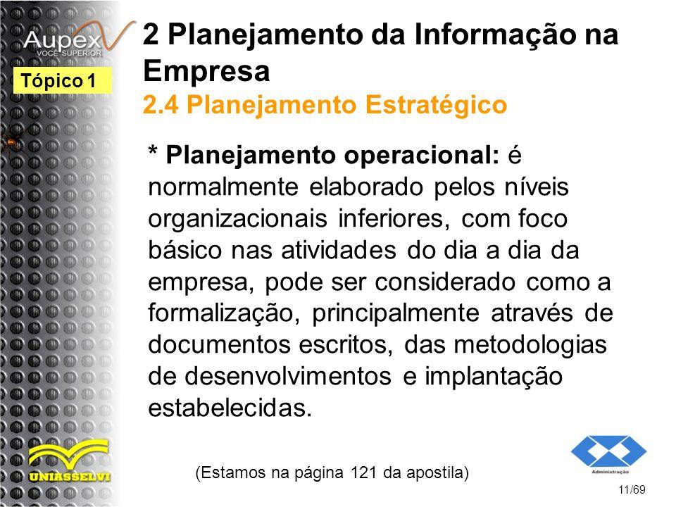 2 Planejamento da Informação na Empresa 2.4 Planejamento Estratégico