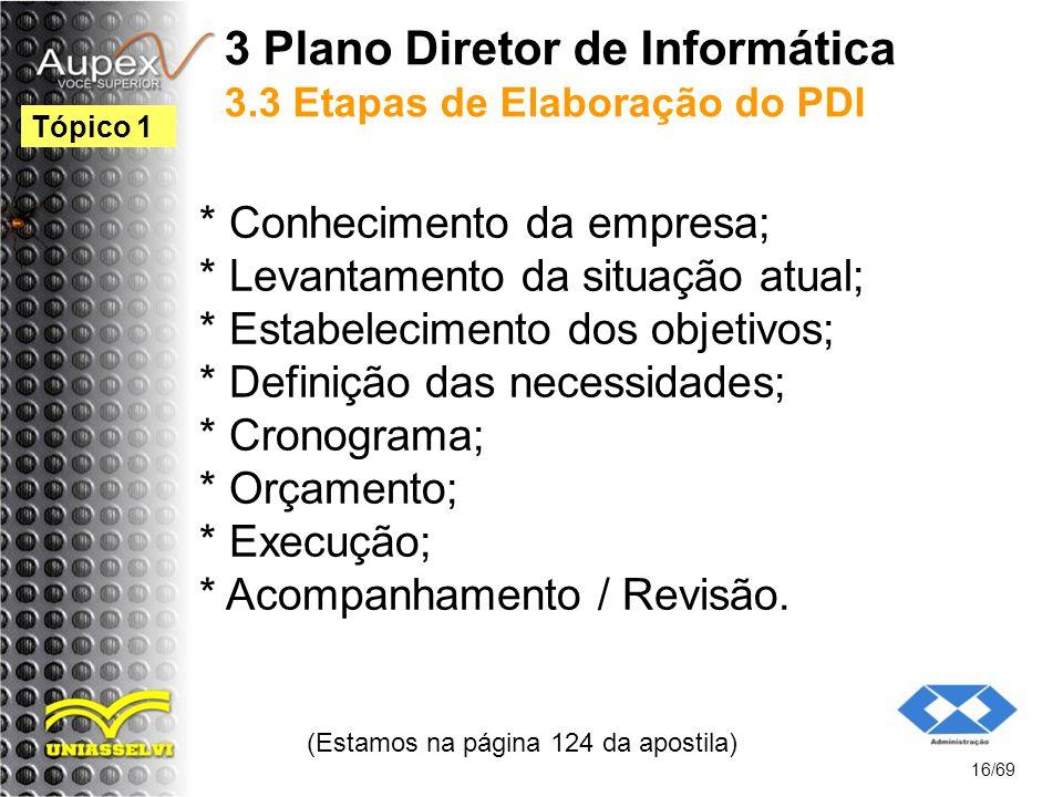 3 Plano Diretor de Informática 3.3 Etapas de Elaboração do PDI