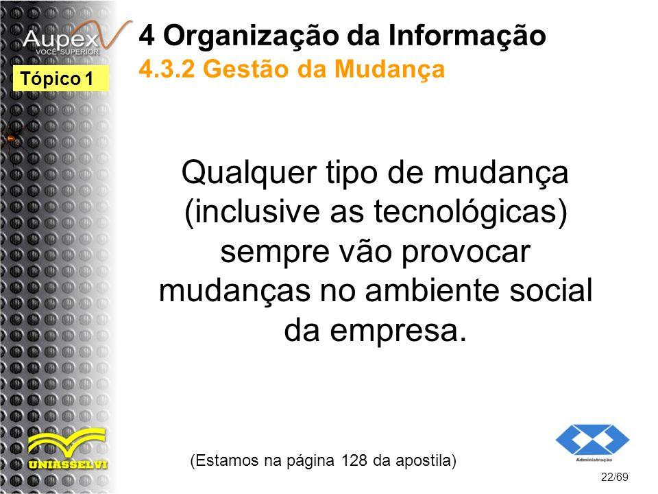 4 Organização da Informação 4.3.2 Gestão da Mudança