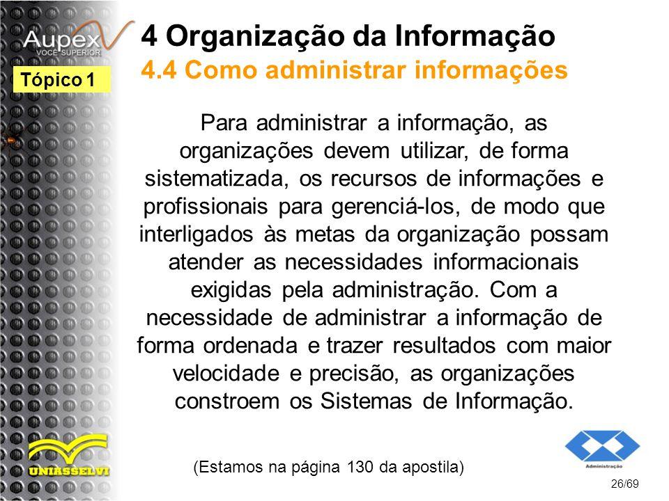 4 Organização da Informação 4.4 Como administrar informações