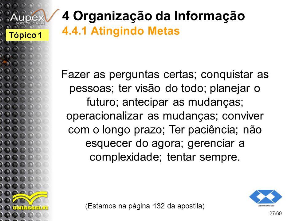 4 Organização da Informação 4.4.1 Atingindo Metas