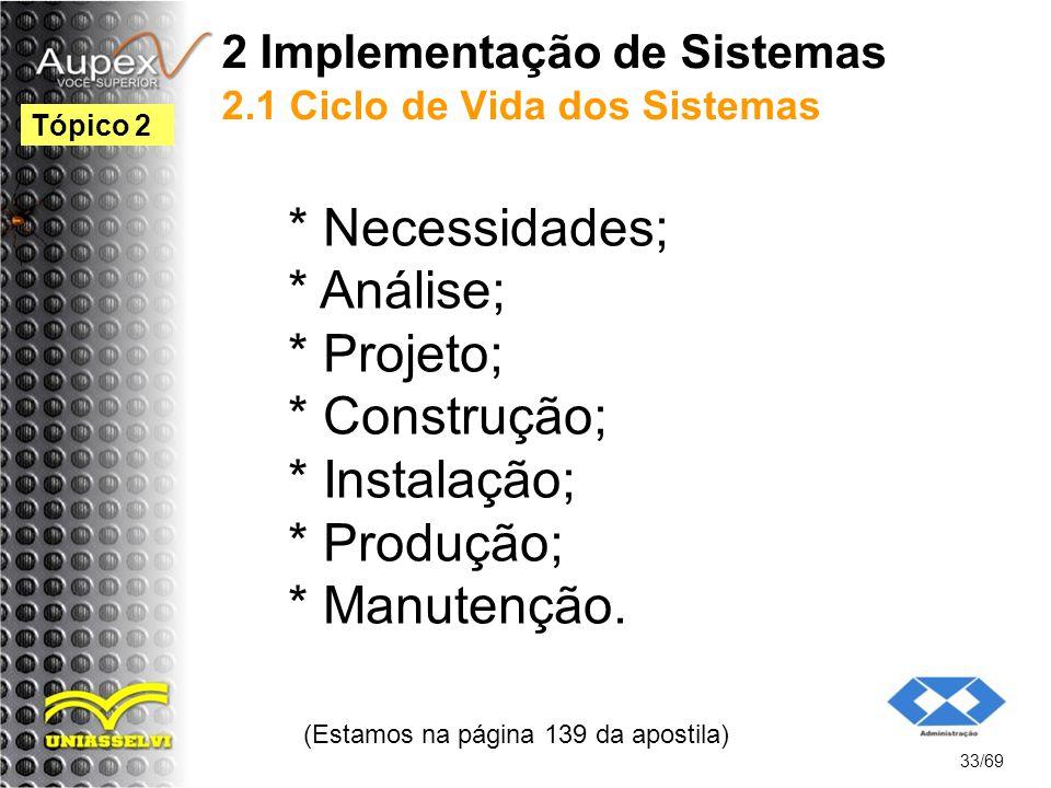 2 Implementação de Sistemas 2.1 Ciclo de Vida dos Sistemas