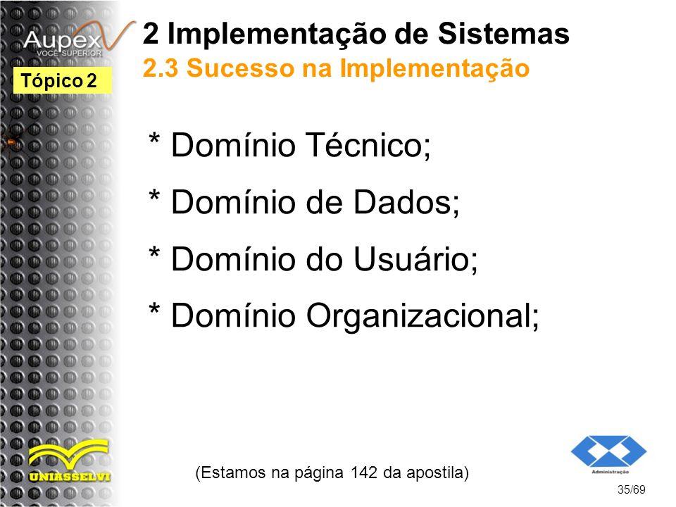 2 Implementação de Sistemas 2.3 Sucesso na Implementação
