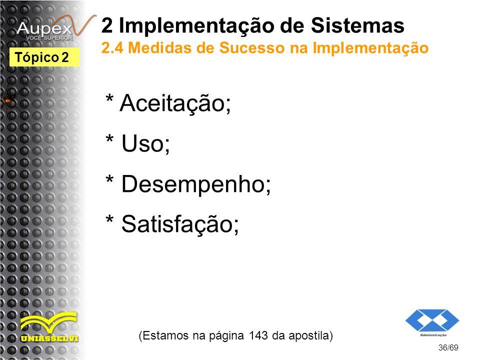 2 Implementação de Sistemas 2.4 Medidas de Sucesso na Implementação