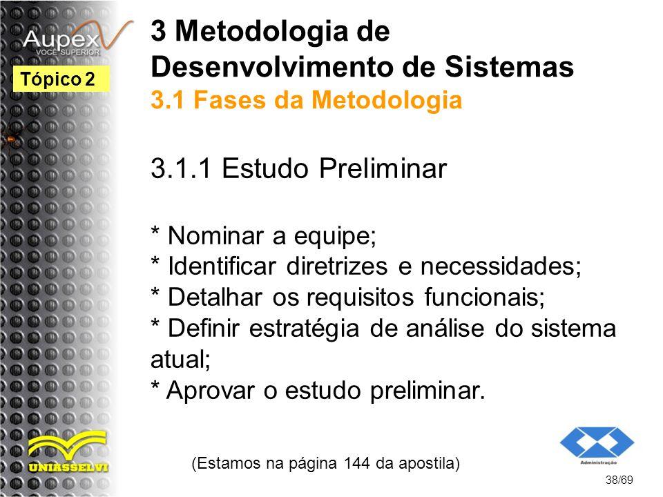 3 Metodologia de Desenvolvimento de Sistemas 3.1 Fases da Metodologia