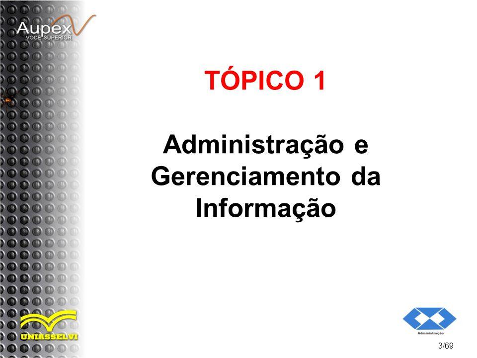 TÓPICO 1 Administração e Gerenciamento da Informação