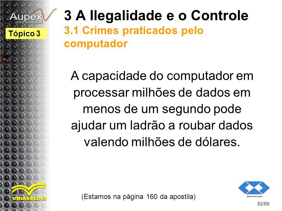 3 A Ilegalidade e o Controle 3.1 Crimes praticados pelo computador