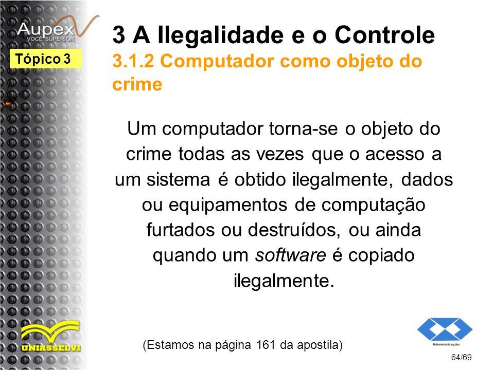 3 A Ilegalidade e o Controle 3.1.2 Computador como objeto do crime