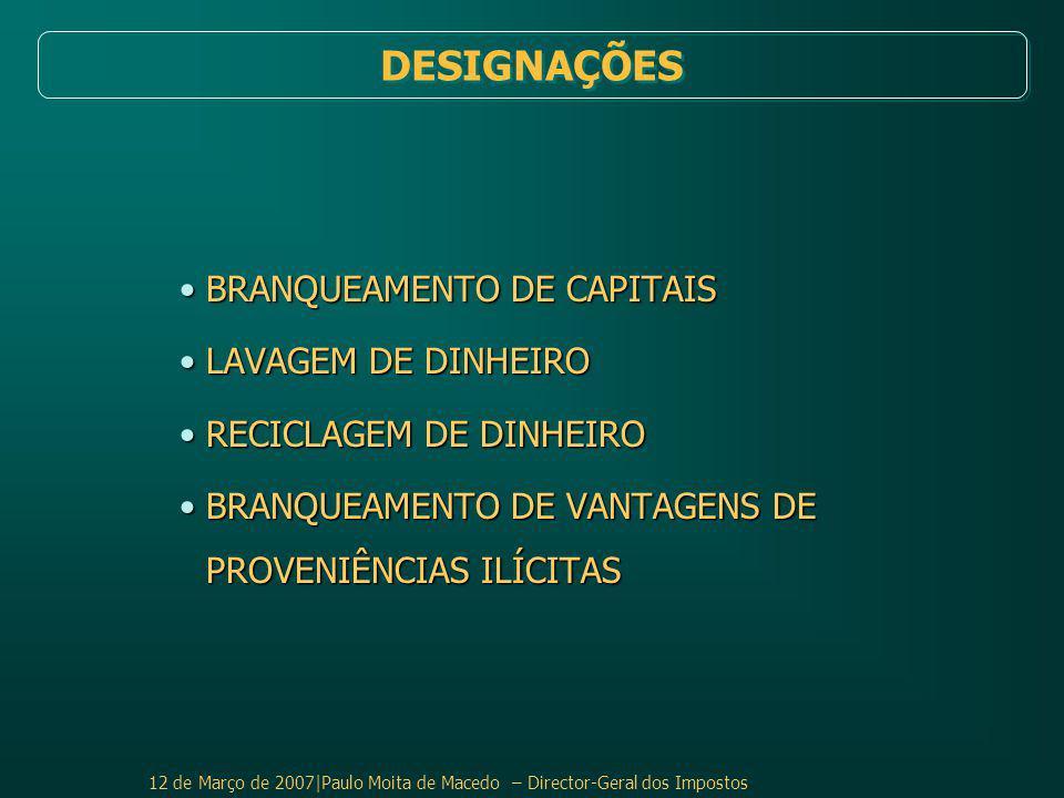 DESIGNAÇÕES BRANQUEAMENTO DE CAPITAIS LAVAGEM DE DINHEIRO