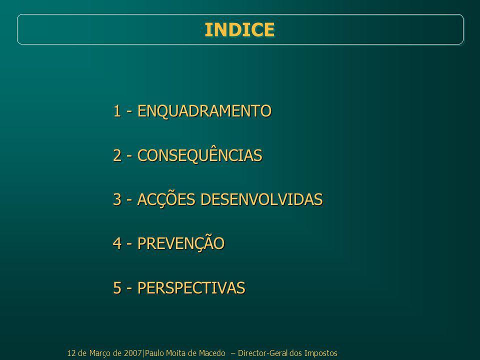 INDICE 1 - ENQUADRAMENTO 2 - CONSEQUÊNCIAS 3 - ACÇÕES DESENVOLVIDAS