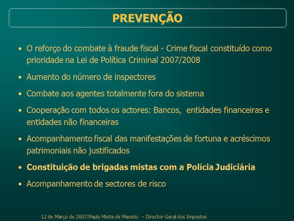 PREVENÇÃO O reforço do combate à fraude fiscal - Crime fiscal constituído como prioridade na Lei de Política Criminal 2007/2008.