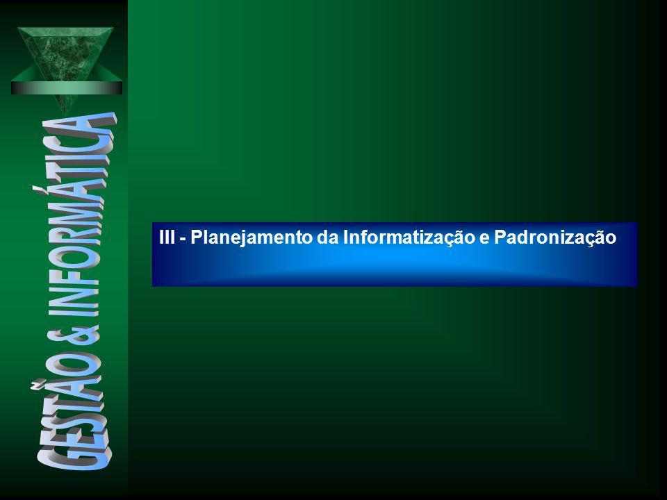 III - Planejamento da Informatização e Padronização