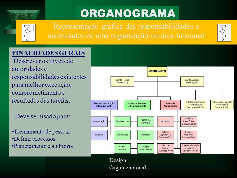 ORGANOGRAMA Representação gráfica das responsabilidades e