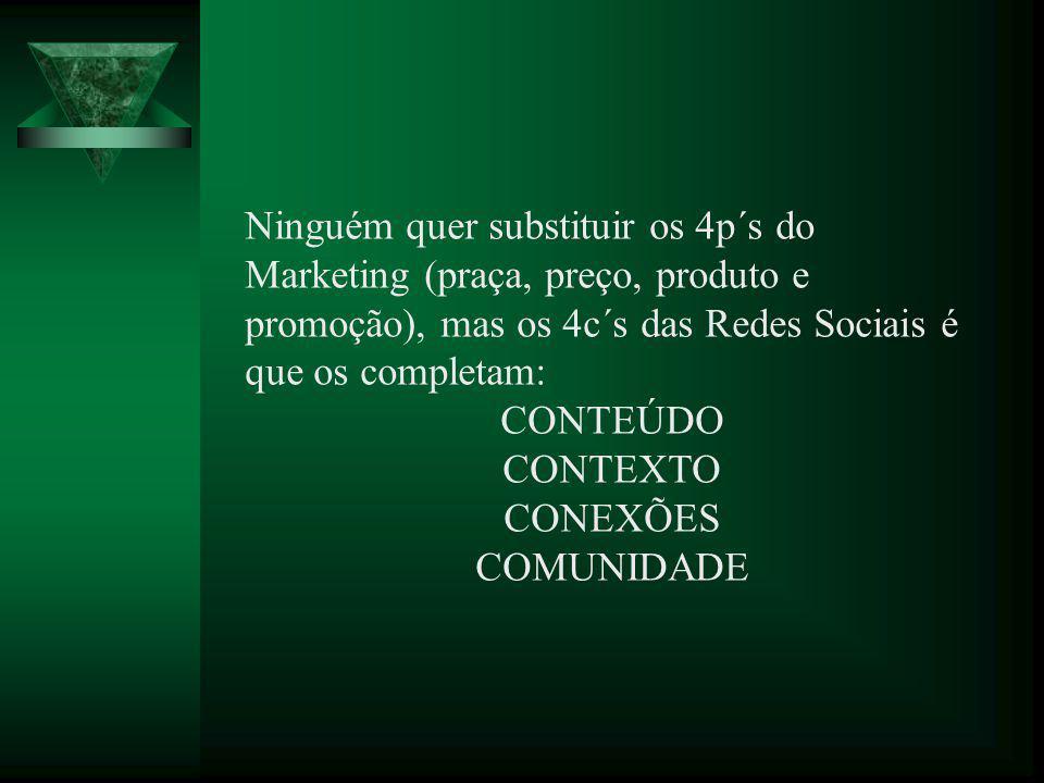 Ninguém quer substituir os 4p´s do Marketing (praça, preço, produto e promoção), mas os 4c´s das Redes Sociais é que os completam: