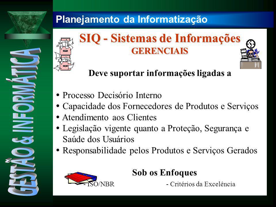 SIQ - Sistemas de Informações Deve suportar informações ligadas a