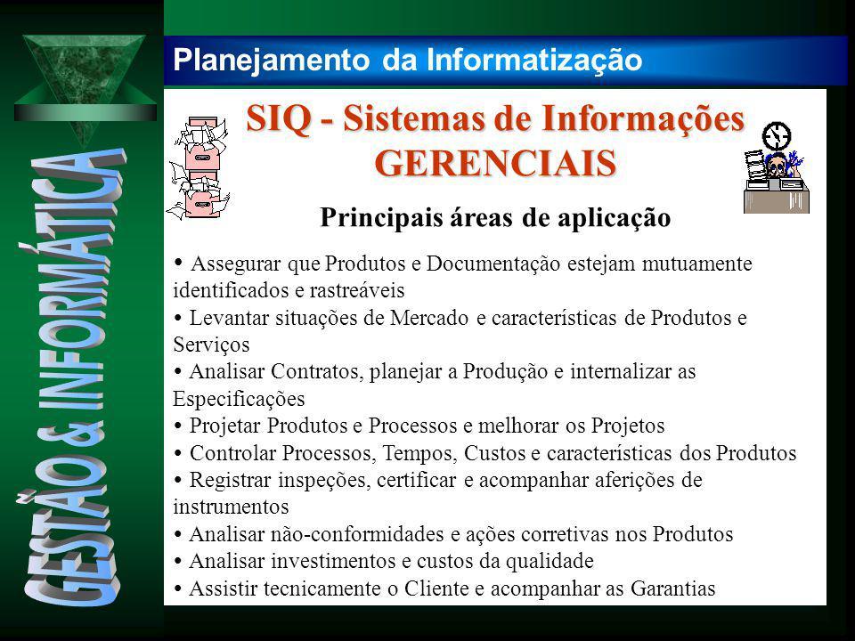 SIQ - Sistemas de Informações GERENCIAIS Principais áreas de aplicação
