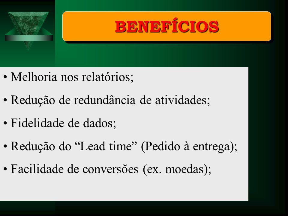 BENEFÍCIOS Melhoria nos relatórios;