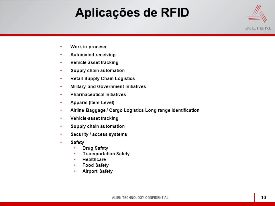 Aplicações de RFID Work in process Automated receiving