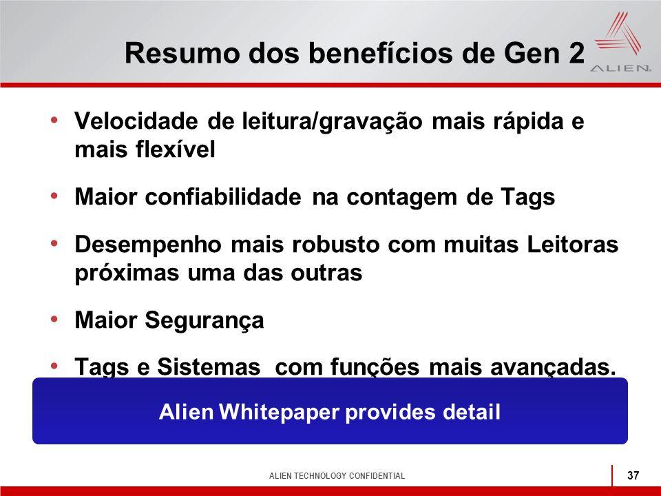Resumo dos benefícios de Gen 2