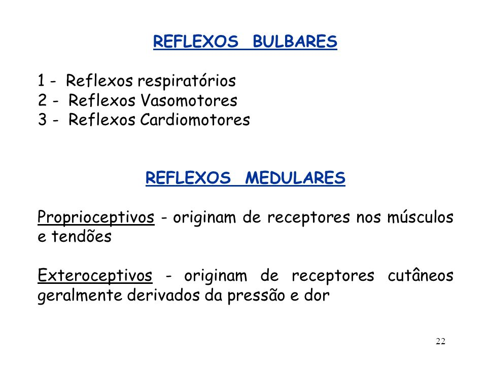 REFLEXOS BULBARES 1 - Reflexos respiratórios. 2 - Reflexos Vasomotores. 3 - Reflexos Cardiomotores.