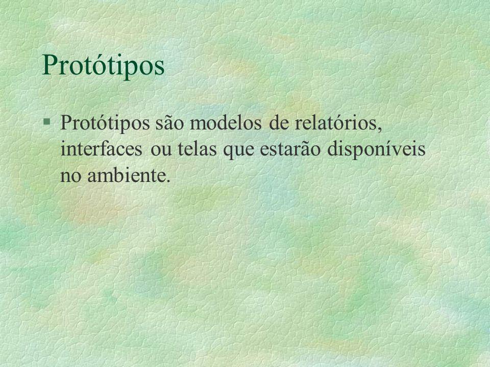 Protótipos Protótipos são modelos de relatórios, interfaces ou telas que estarão disponíveis no ambiente.