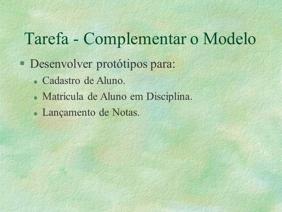 Tarefa - Complementar o Modelo