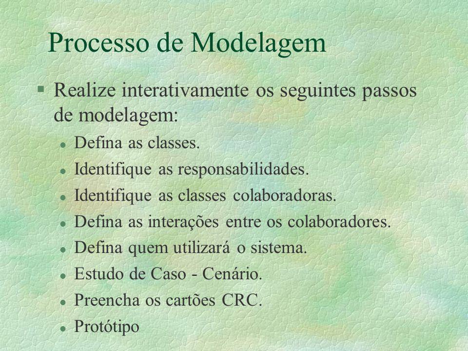 Processo de Modelagem Realize interativamente os seguintes passos de modelagem: Defina as classes.