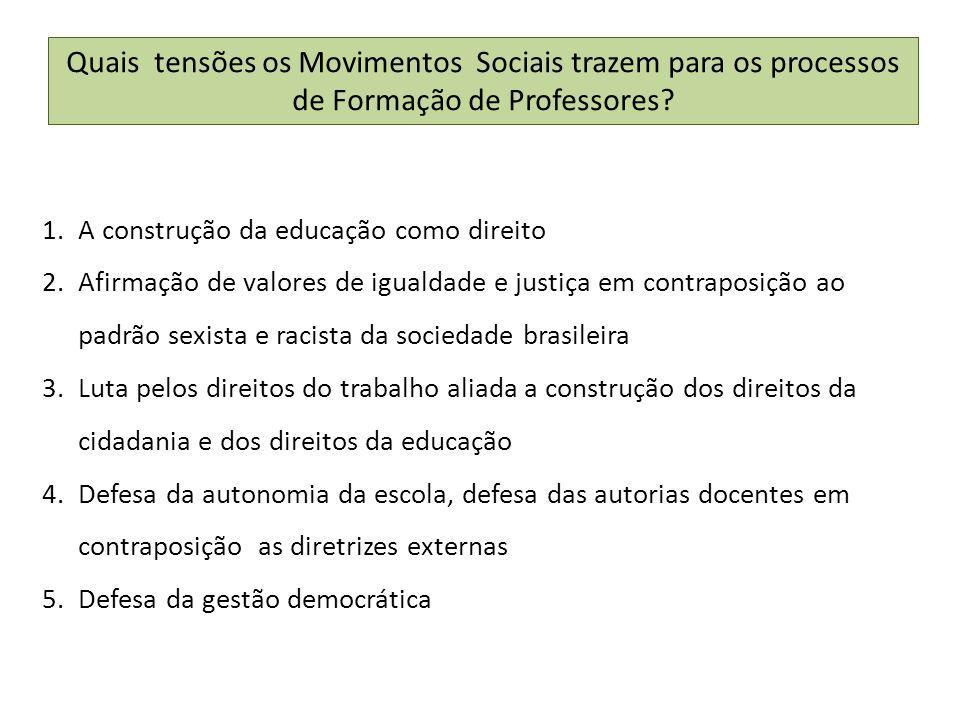Quais tensões os Movimentos Sociais trazem para os processos de Formação de Professores