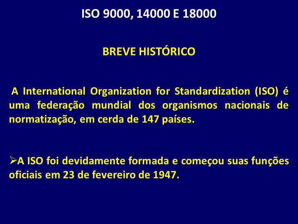 ISO 9000, 14000 E 18000 BREVE HISTÓRICO.