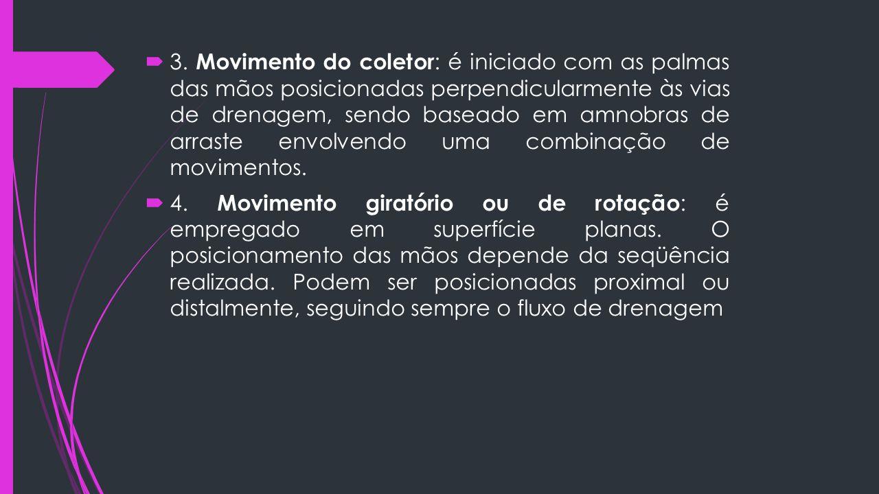3. Movimento do coletor: é iniciado com as palmas das mãos posicionadas perpendicularmente às vias de drenagem, sendo baseado em amnobras de arraste envolvendo uma combinação de movimentos.