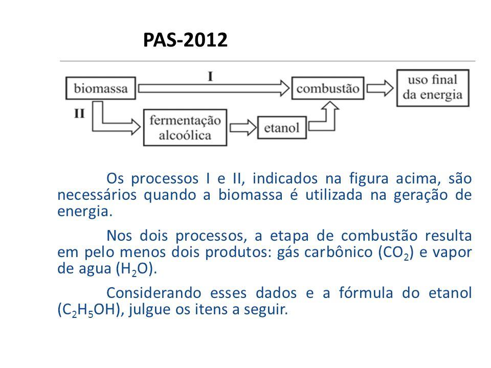 PAS-2012 Os processos I e II, indicados na figura acima, são necessários quando a biomassa é utilizada na geração de energia.