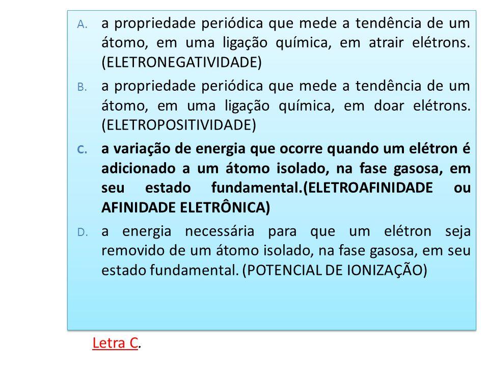 a propriedade periódica que mede a tendência de um átomo, em uma ligação química, em atrair elétrons. (ELETRONEGATIVIDADE)