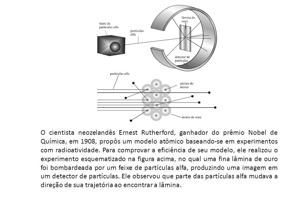 O cientista neozelandês Ernest Rutherford, ganhador do prêmio Nobel de Química, em 1908, propôs um modelo atômico baseando-se em experimentos com radioatividade.