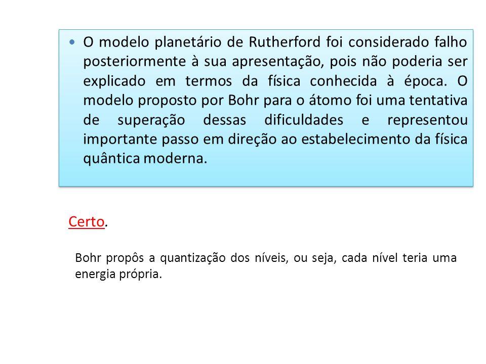 O modelo planetário de Rutherford foi considerado falho posteriormente à sua apresentação, pois não poderia ser explicado em termos da física conhecida à época. O modelo proposto por Bohr para o átomo foi uma tentativa de superação dessas dificuldades e representou importante passo em direção ao estabelecimento da física quântica moderna.