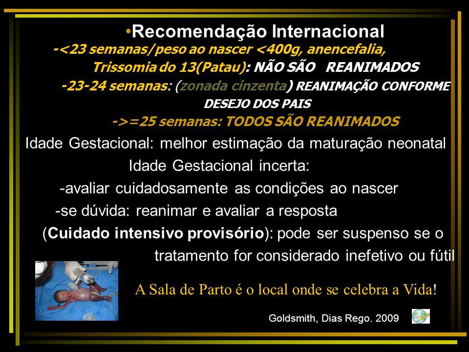 Recomendação Internacional Trissomia do 13(Patau): NÃO SÃO REANIMADOS