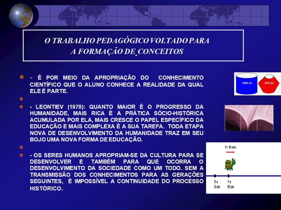 O TRABALHO PEDAGÓGICO VOLTADO PARA A FORMAÇÃO DE CONCEITOS
